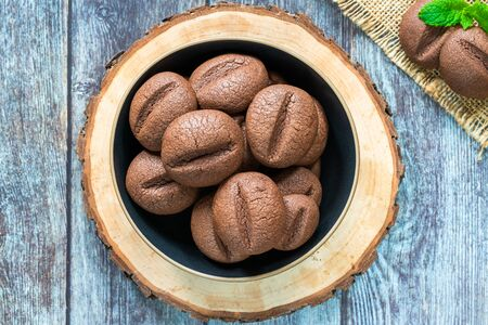 Coffee bean cookies in a bowl - overhead view
