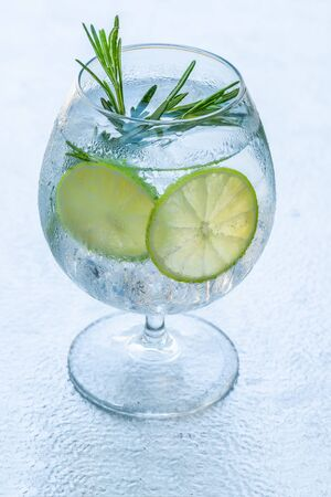 Gin and tonic cocktail with lime and rosemary - refreshing summer alkoholic drink Stockfoto