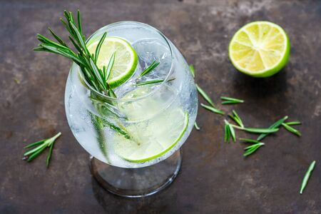 Gin and tonic cocktail with lime and rosemary - refreshing summer alkoholic drink 写真素材