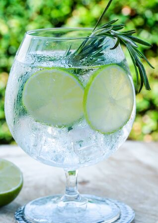 Gin and tonic cocktail with lime and rosemary - refreshing summer alkoholic drink Stock Photo