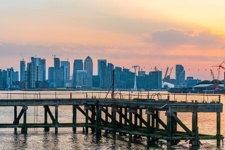 LONDON, UK - JUNE 29, 2019: Canary Wharf, a commercial estate in London, is one of the main financial centres of the UK. It contains around 1,500,000 square feet office and retail space.