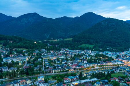 Panoramic view of Bad Ischl in Austria from Siriuskogl at dusk. Stock Photo - 128573369