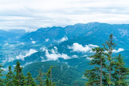 Panoramic alpine view of peaks over Bad Ischl, Austria from Katrin mountain Stock Photo - 128573373