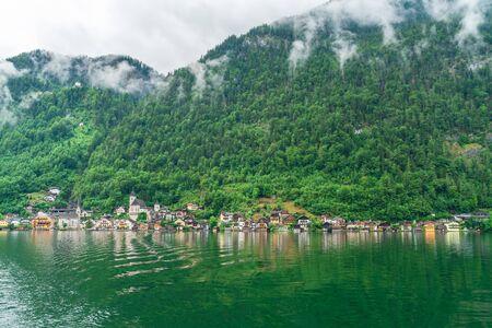 Hallstatt town on Hallstatter Lake in Salzkammergut region, Austria Stock Photo