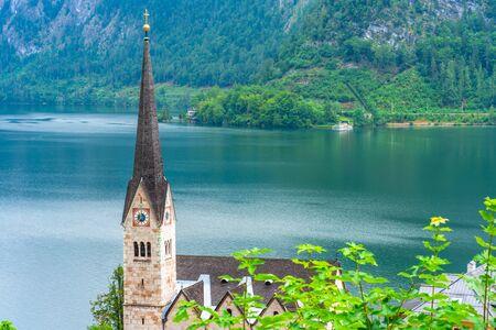Neo Gothic Evangelical Church in Hallstatt on Hallstatter Lake in Salzkammergut region in Austria Stock Photo