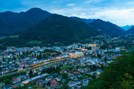 Panoramic view of Bad Ischl in Austria from Siriuskogl at dusk. Stock Photo - 128573391