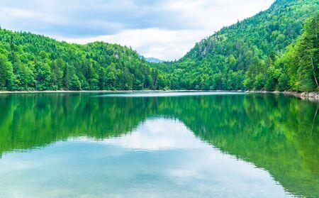 Nussensee lake in Upper Austria located near Bad Ischl in the Salzkammergut. Stock Photo
