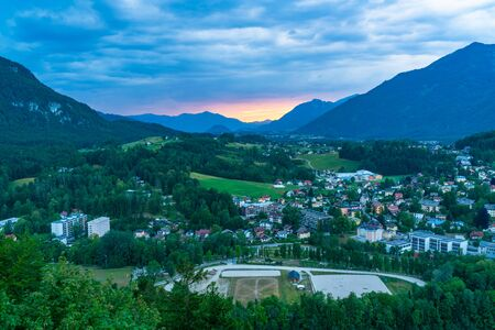 Panoramic view of Bad Ischl in Austria from Siriuskogl at dusk.