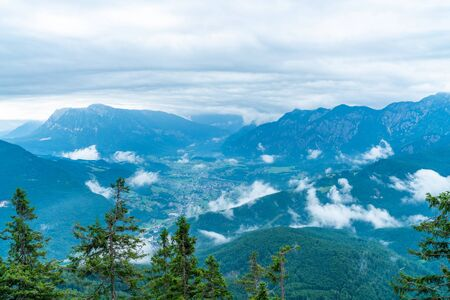 Panoramic alpine view of peaks over Bad Ischl, Austria from Katrin mountain Stock Photo