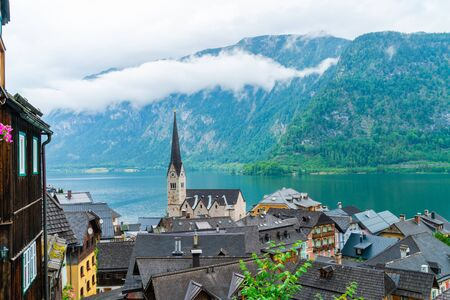 Hallstatt town on Hallstatter Lake in Salzkammergut region, Austria Stock Photo