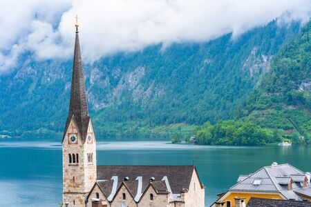 Neo Gothic Evangelical Church in Hallstatt on Hallstatter Lake in Salzkammergut region in Austria Stock Photo
