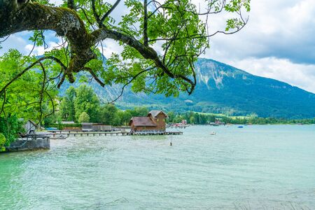 Lake St. Wolfgang in the Salzkammergut resort region, Austria Stock Photo - 128573532