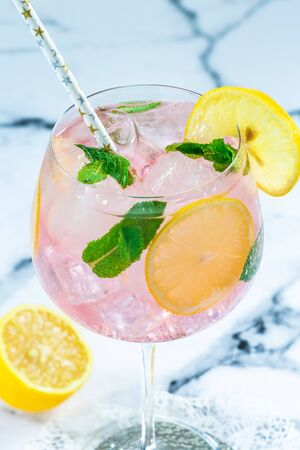 Pink gin and tonic cocktail with lemon slices, garnished with fresh mint leaves - refreshing summer alcoholic drink Stock Photo - 128573445