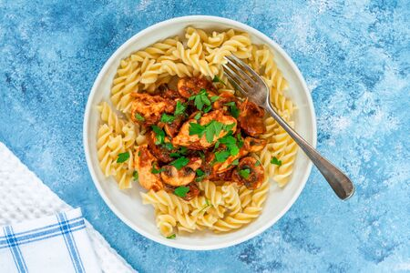 Smoky chicken and mushrooms with tomto sauce and pasta in a bowl - overhead view Stock Photo