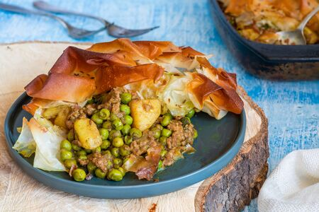 Lamb samosa pie - popular Indian dish with a savoury filling Stock Photo
