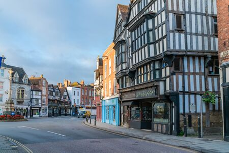 TEWKESBURY, UK - SEPTEMBER 23, 2019 : Tewkesbury at the junction River Severn and River Avon is a market town in Gloucestershire, England. The town features many notable Medieval and Tudor buildings