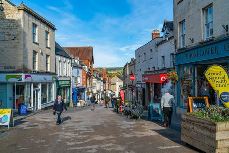 STROUD, UK - SEPTEMBER 23, 2019: Situated below the western escarpment of the Cotswold Hills at the meeting point of the Five Valleys, Stroud is a market town in the centre of Gloucestershire
