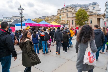 LONDON, UK - NOVEMBER 03, 2019: People attend Diwali celebrations in London. Diwali, or Deepawali is the Hindu festival of lights celebrated during the Hindu Lunisolar month Kartika.