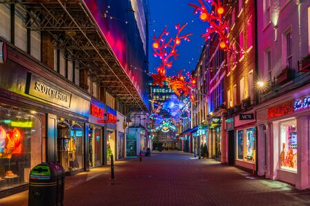 LONDON - NOVEMBER 09 2019:This year Carnaby Street in collaboratiion with ocean conservation charity Project Zero creates more eco-friendly Christmas display made using recycled and reusable materials Фото со стока - 133786764