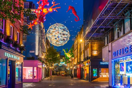 LONDON - NOVEMBER 09 2019:This year Carnaby Street in collaboratiion with ocean conservation charity Project Zero creates more eco-friendly Christmas display made using recycled and reusable materials