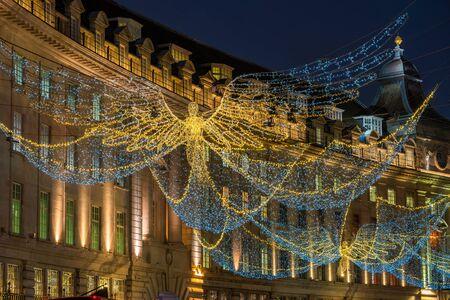 Christmas lights on Regent Street, London, UK.