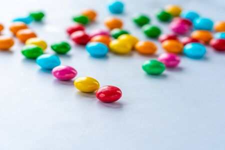 Colorful candy sweets on white 写真素材 - 136792715