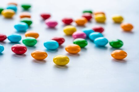 Colorful candy sweets on white 写真素材 - 136792718