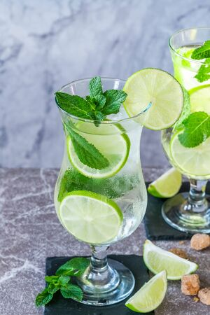 Refreshing mojito cocktail with mint and lime 写真素材 - 136550360