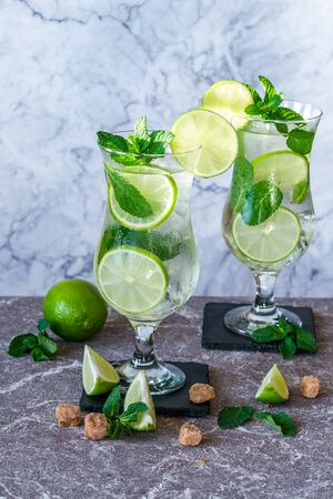 Refreshing mojito cocktail with mint and lime 写真素材 - 136552026
