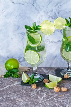 Refreshing mojito cocktail with mint and lime 写真素材 - 136792829