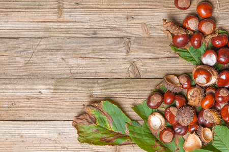 Chestnuts on a brown wooden table with some leaves. photo