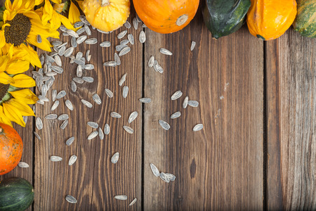 harvest cone cornucopia: Different kinds of autumn fruits on a wooden table.