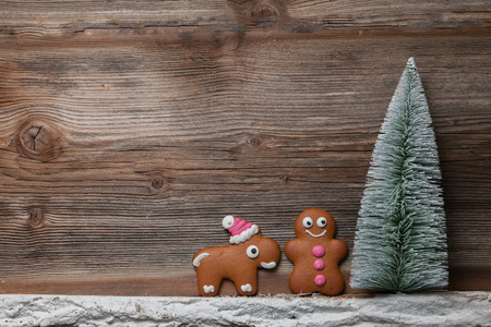 Gingerbread man and reindeer in front of their christmas tree