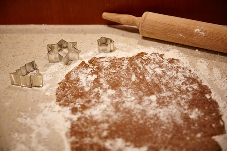 christmas paste: A dough and a rolling pin in the kitchen
