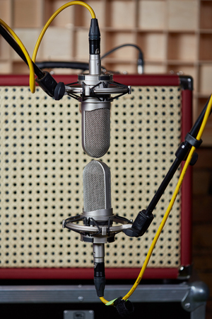 amp: Vintage amp and two microphones in blumlein orientation in front of it