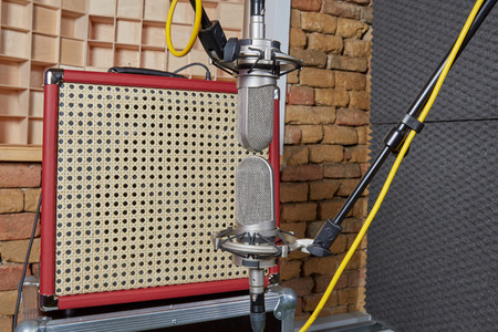 amp: Two microphones placed in blumlein orientation for recording in front of vintage amp