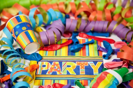 serpentinas: Colored carnival streamers and ballons as colorful party decoration