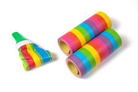 party streamers: Colored carnival streamers as colorful party decoration Stock Photo
