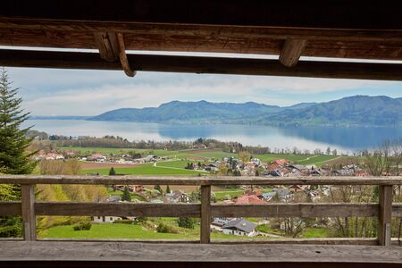 kaprun: Panorama view at lake Attersee from a cabin in Nussdorf Stock Photo