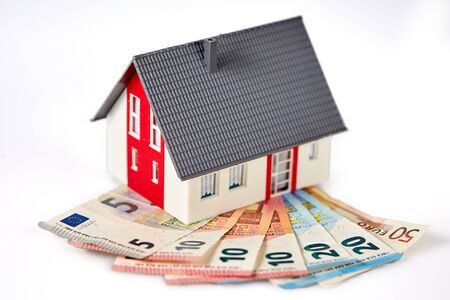 Money euro banknotes and figurine house