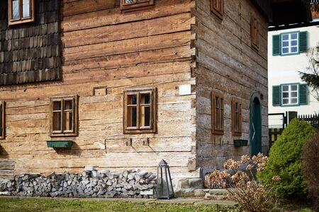 Old cabin hut in the alps with rustic wood