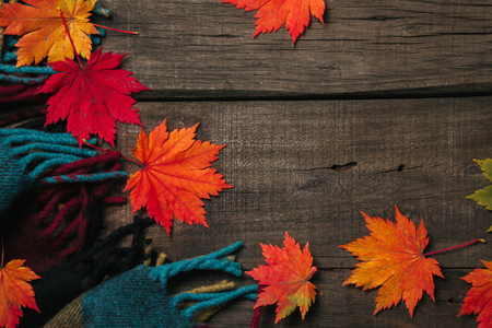 Autumn leaves with plaid on old vintage wooden background.
