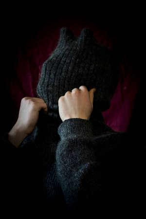 claret: Velvet; claret; red; a silhouette; foreshortening; clothing; sweater;