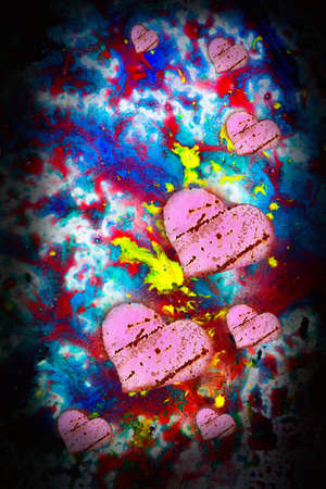heart, three, pink, love  old; textured;wall; brick; dirty; photo