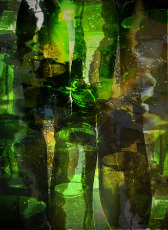 bottle; glass; reflection; drink; liquid; color; photo