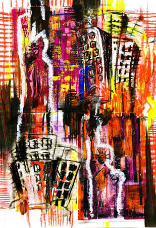 ellis: Abstract composition with Statue of Liberty.City