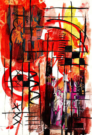 abstract painting: Abstract composition with Statue of Liberty