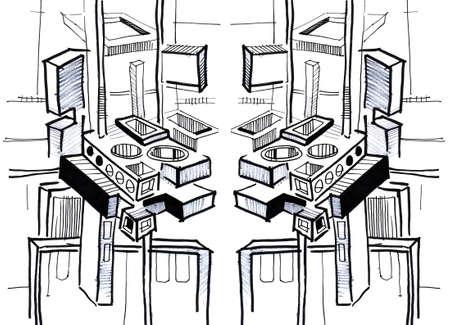technics: 3d, abstract composition. Technics Stock Photo