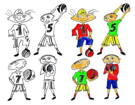 Los jugadores de f�tbol dibujado Foto de archivo - 9745813