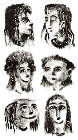 The drawn portraits, women Stock Photo - 9983172
